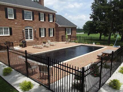 Black fiberglass pool (dark bottom pool)