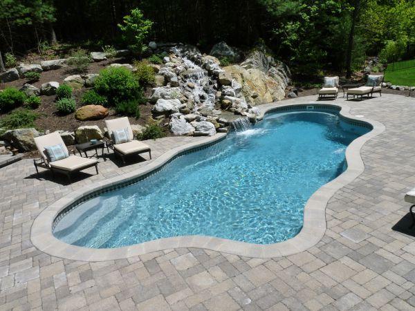 Fiberglass Pool Designs pix for fiberglass pools with tanning ledge Northeast Fiberglass Pool Company Wins Award With Impressive Water Feature Pool Combo