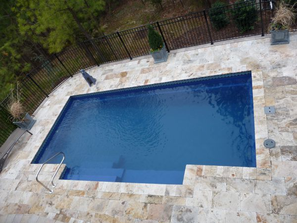 Travertine pool patio and coping