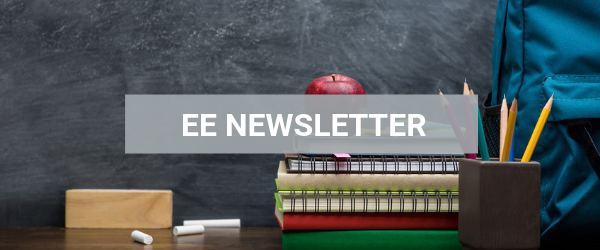 EE Newsletter banner with school books and pencils
