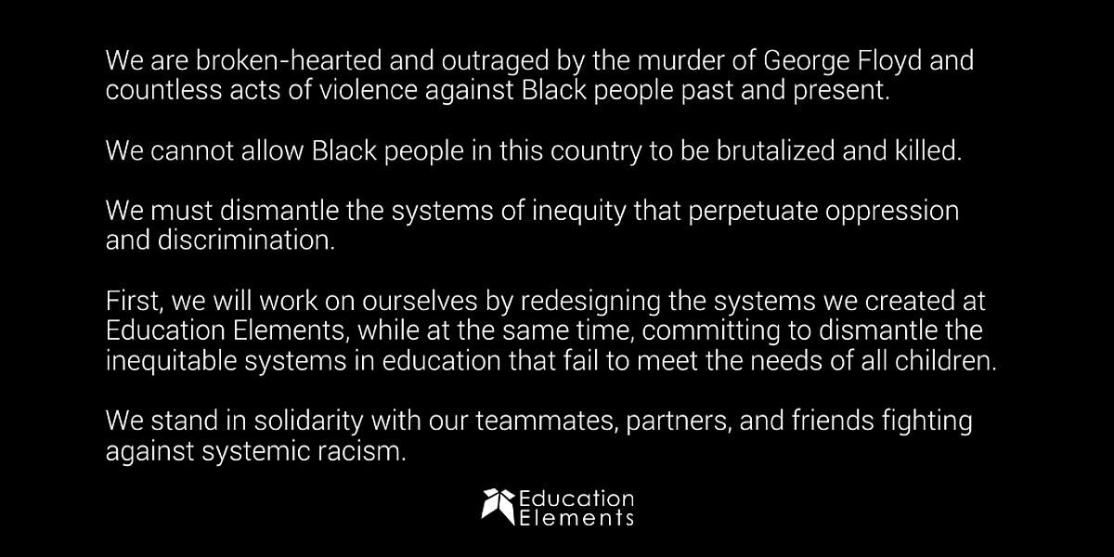 Ed Elements Statement Black Lives Matter June 2020 Social