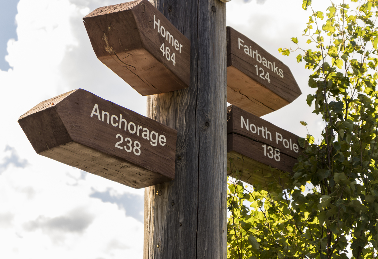 Signpost guiding to Fairbanks, Anchorage or the North Pole