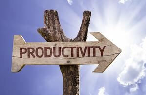 Productivity sign with a beautiful day on background