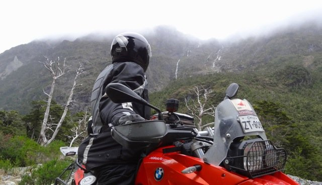 Motorcycle Rider Waterfall Patagonia