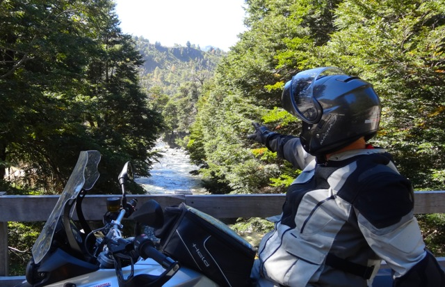 Motorcycle Rider in Patagonia by River