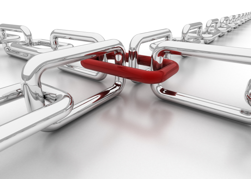 The SEO power of link building as two chains hooked on each other