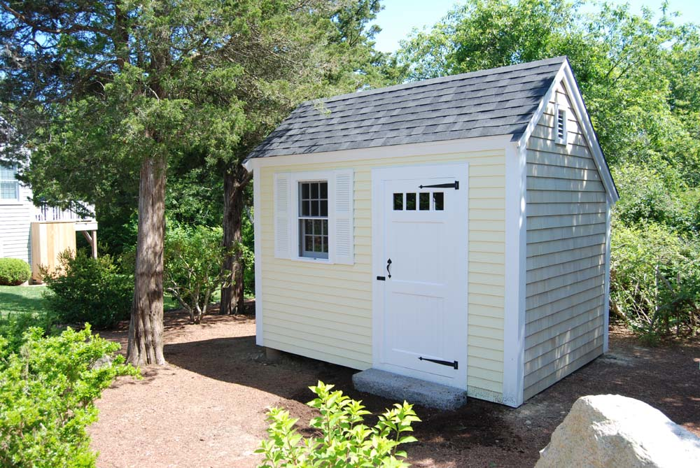 8' x 12' Saltbox featuring Cedar and Clapboard Siding with Higher Posts