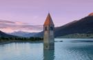 Lago di Resia near the Swiss and Austrian borders.