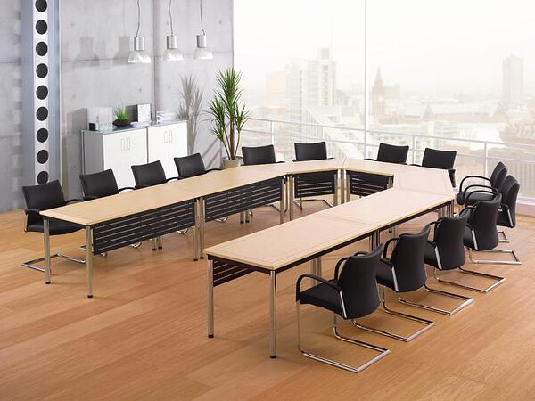 interesting-conference-table-and-chair-sets_u-shaped_maple-particle-board-top_black-metal-mesh-modesty-panel_black-leather-cavalier-base-chairs_appealing-meeting-room-furniture-945x709