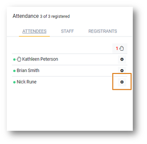 Screenshot: The Attendee widget with the raise hand icon displayed and the Attendee settings icon highlighted.