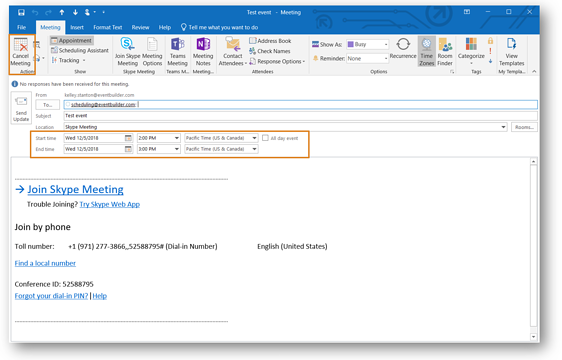 Screenshot: Outlook meeting time and date highlighted.