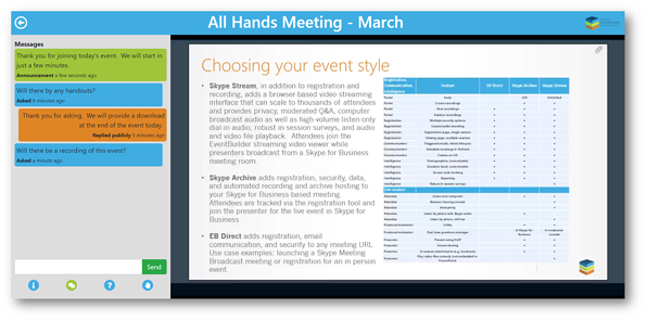 Screenshot: Attendee console view of a Simulated-Live event.