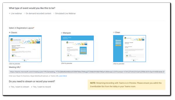 Screenshot: Event registration layout options dialog.