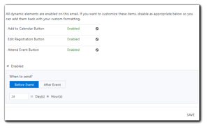 Screenshot: dynamic buttons options, enabled checkbox, and delivery schedule.