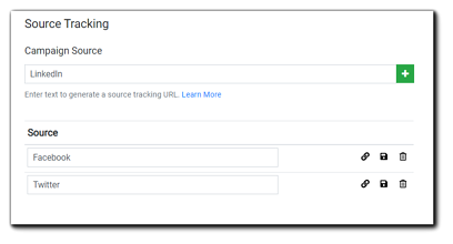 Screenshot: source tracking dialog.