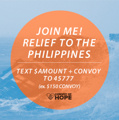 We've partnered up with CONVOY OF HOPE to process mobile donations to the Philippines. To make a donation just follow the simple instructions above!