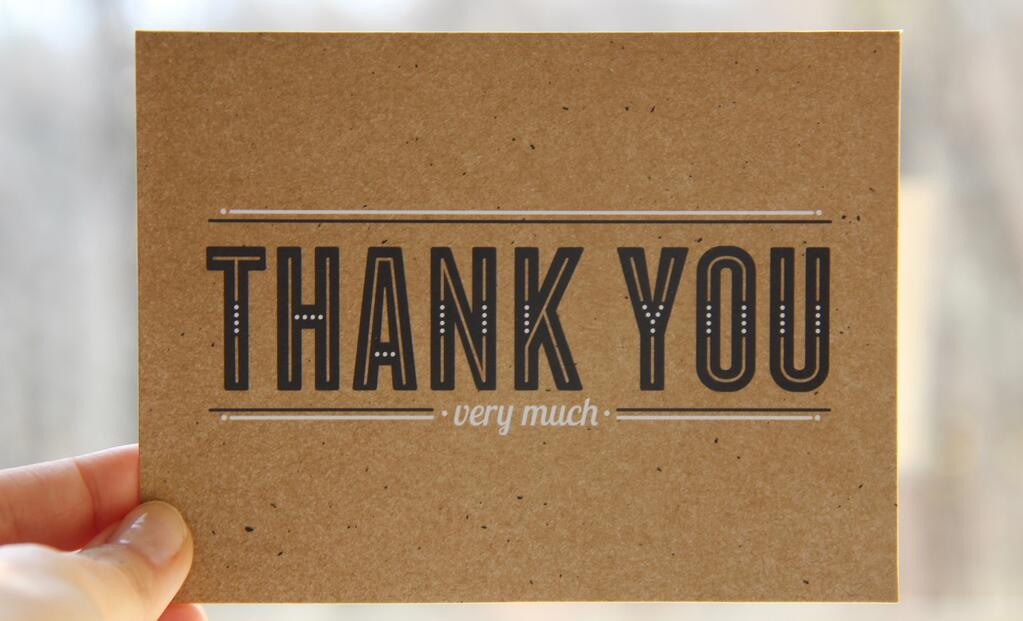 Send a real thank you note to say thanks!