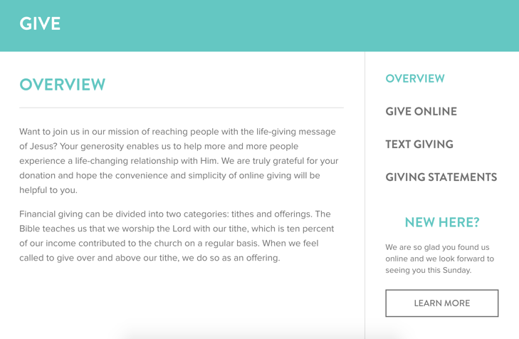 A great example of a church's giving page!