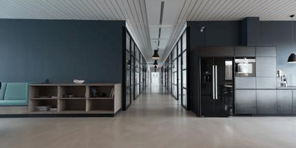 Modern office open concept dark walls