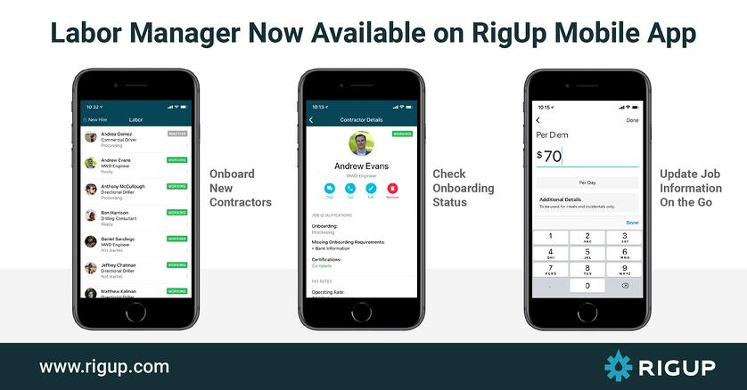 Labor Manager Is Available in the RigUp Mobile App