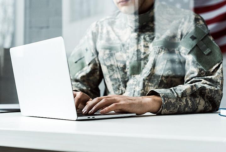 military personnel with computer