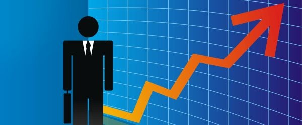 Cartoon businessman with graph showing exponential growth illustrated behind him
