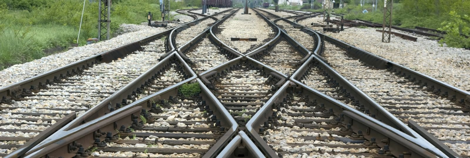 Railroad tracks overlapping one another
