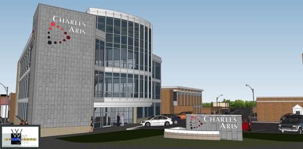Digital mockup of Charles Aris building