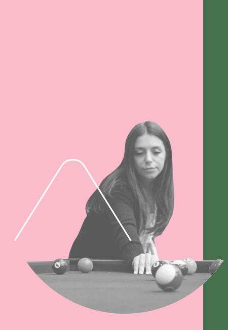 Mel playing pool - pink background