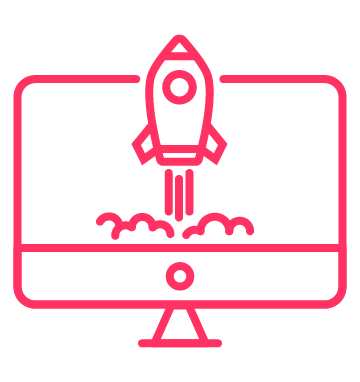 Computer with rocket on screen icon