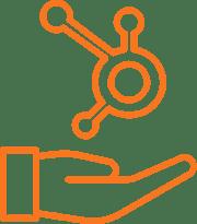 Hand holding hubspot logo