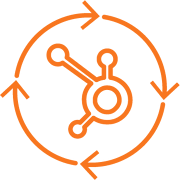 Hubspot logo with circular arrows around it