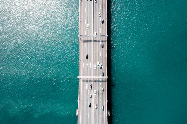Mo Aziz by shutterstock, aerial view of a bridge, turquoise water