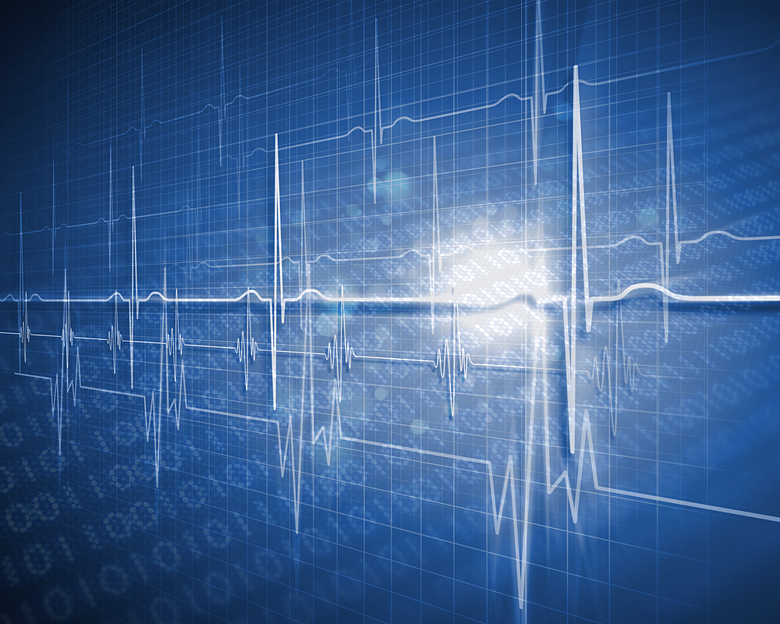 A medical background with a heart beat  pulse with a heart rate monitor symbol Data Code Background
