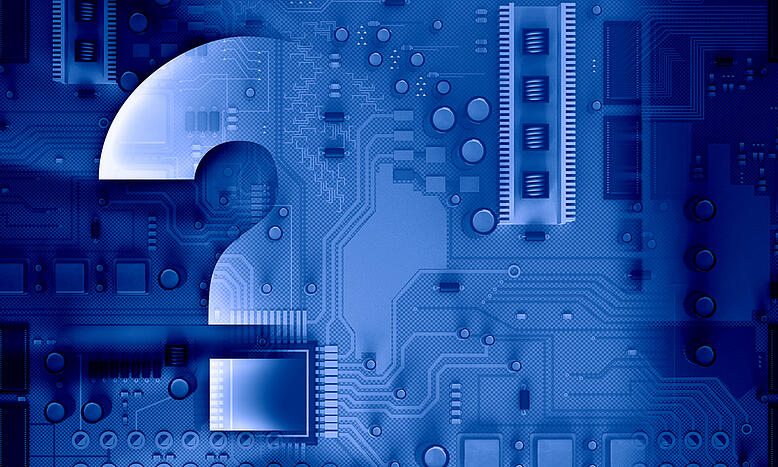 Background image with system motherboard concept and question mark