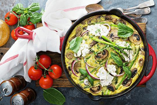 Mushroom & asparagus omelette