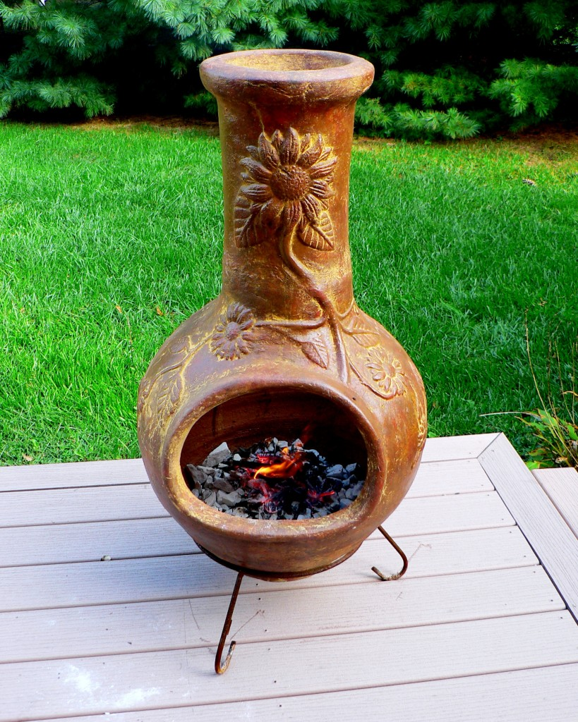 High Quality Chiminea With Fire Burning