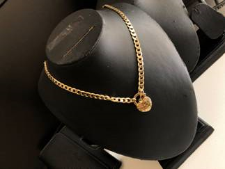 Yellow Gold filled Cuban Chain Necklace with Heart Pendant