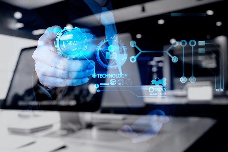 double exposure of businessman hand pushing  new technology button on modern computer as concept-1