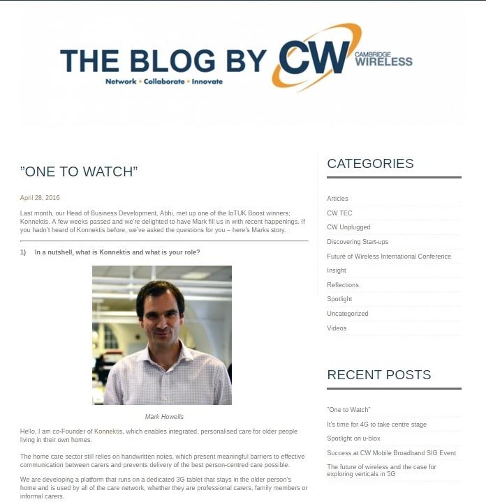 Konnektis featured as One to Watch on Cambridge Wireless blog