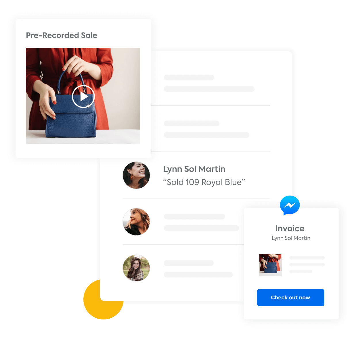 An example social post selling a purse with multiple comments and a Facebook Messenger message with a link to check out