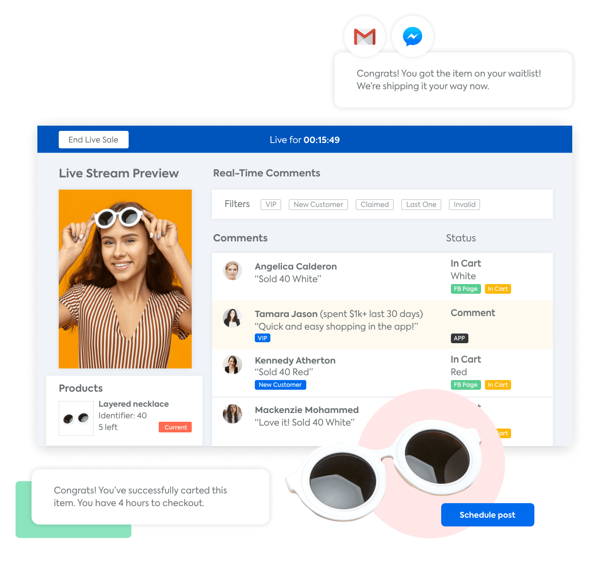 A mockup of the CommentSold Talent View with a woman selling sunglasses on Facebook Live and automated messages