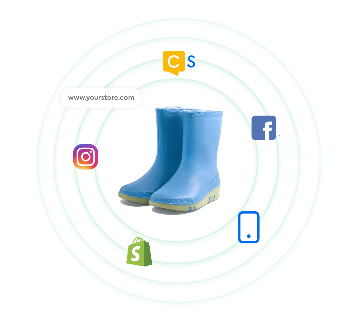 Boots surrounded by icons for Shopify, Instagram, website, CommentSold, Facebook, and mobile app