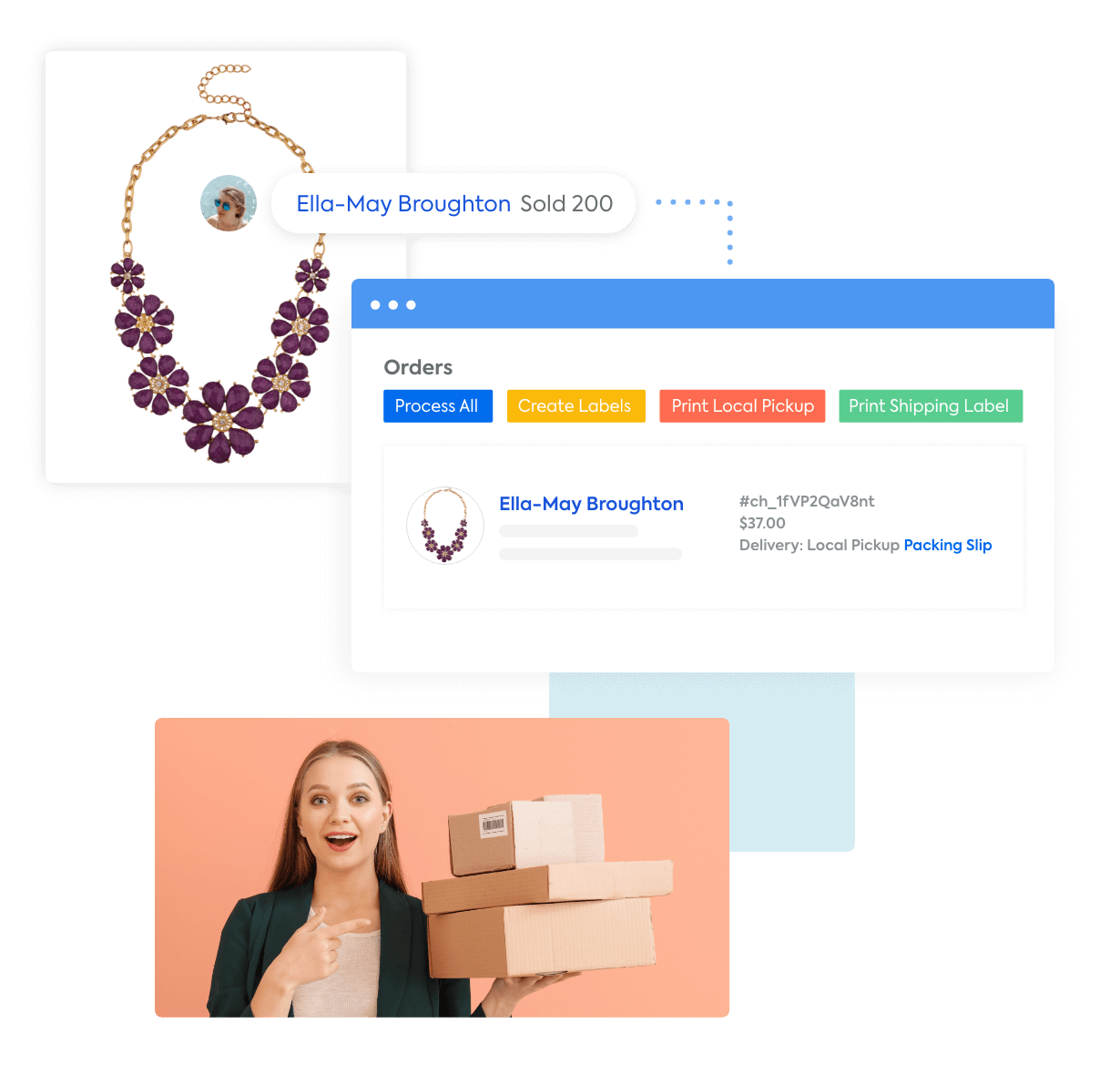 A necklace being purchased by comment, the CommentSold shipping and fulfillment screen, and a happy woman receiving her shipment