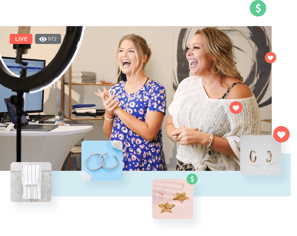 Two women hosting a live flash sale with product images, hearts, and money icons floating around them