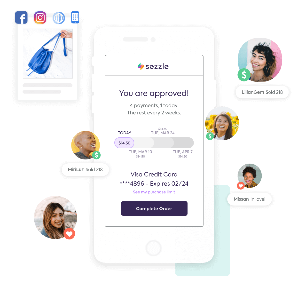 Sezzle payment agreement with a shopper, comment purchases, and a social post selling a purse with Facebook, Instagram, webstore, and mobile app icons above it