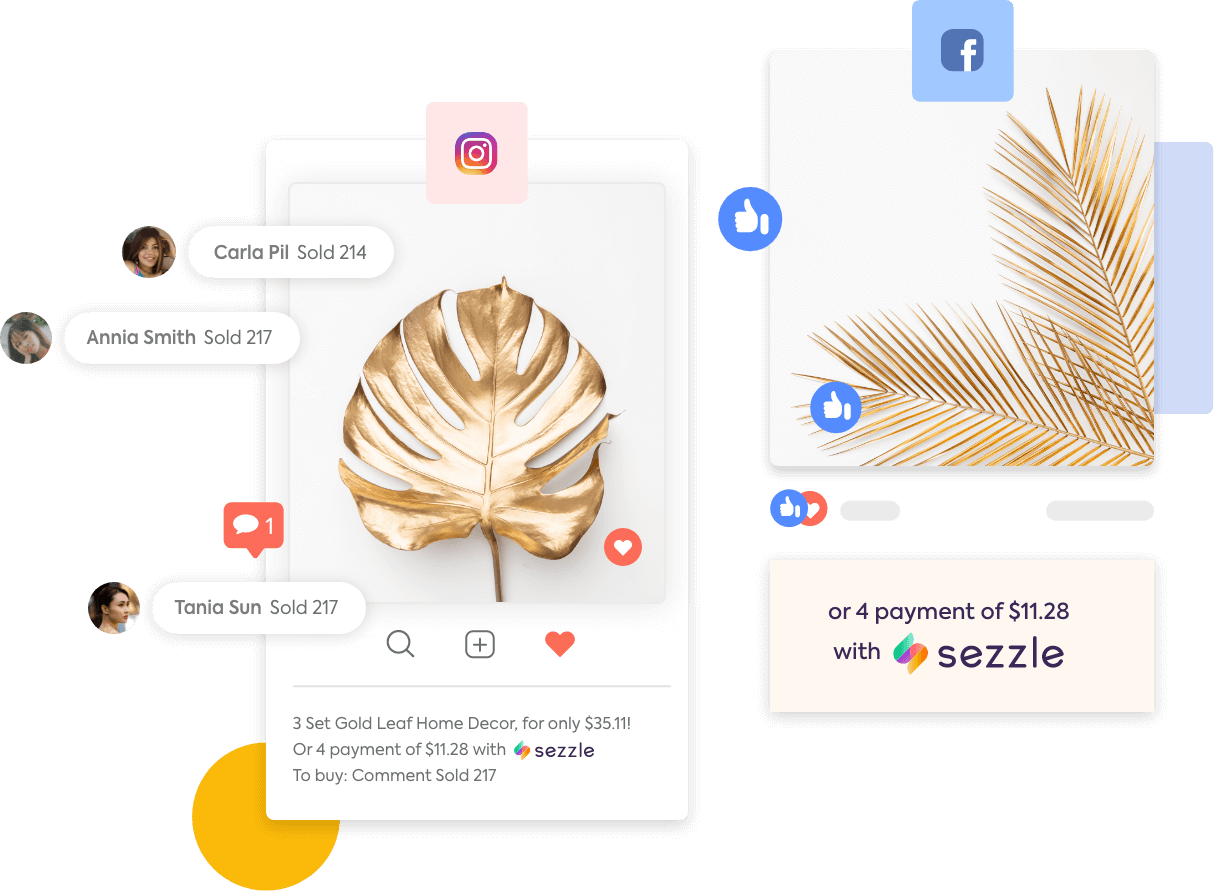 Sales posts on Instagram and Facebook with shoppers making purchases with comments and payment installments offered through Sezzle