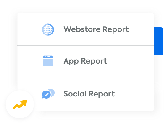 A list of the different selling channels you can report on: webstore, mobile app, and social media.