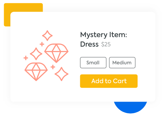 Mystery item product with sizes and an add to cart button