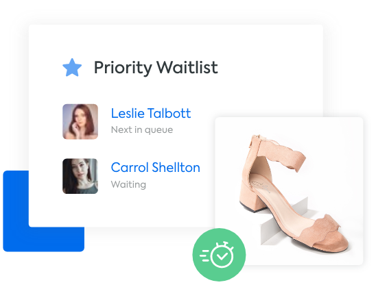 An image of a shoe with a mockup of a waitlist with shoppers in the que.